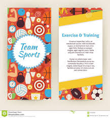 healthy lifestyle sport invitation vector template flyer stock flyer template of exercise and training sport objects and elemen stock photo