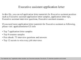 executive assistant application letter jpg cb  executive assistant application letter in this file you can ref application letter materials for executive