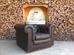 <b>Chesterfield</b> Club <b>armchair</b> in original English vintage in <b>real black</b> ...