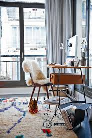 modern home office with plush carpet and midcentury furniture cheerful home office rug