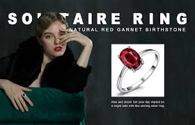 <b>JewelryPalace</b> 1.6ct <b>Genuine Red Garnet</b> Solitaire Rings For ...