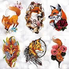 <b>Watercolor Wolf Fox Totem</b> Tiger Waterproof Temporary Tattoo ...