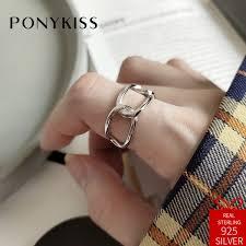 2019 <b>PONYKISS Trendy 100</b>% <b>925</b> Sterling Silver Simple Geometric ...