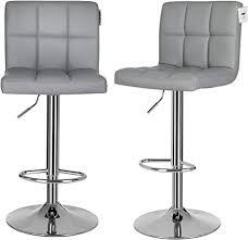 SONGMICS <b>Bar Stools</b> Set of <b>2</b>, Height Adjustable <b>Bar Chairs</b> in ...