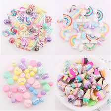 <b>2020 New</b> 1 <b>60Pcs</b> 11 Styles Polymer Clay Sweets Rainbow Hairpin ...