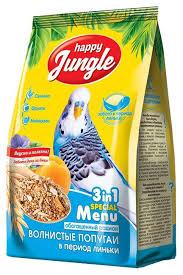 Основной корм <b>Happy Jungle для волнистых</b> попугаев при линьке ...