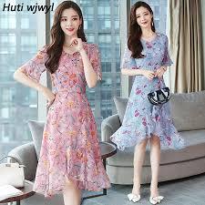 <b>Summer New</b> Vintage Floral Chiffon Midi Dress Plus Size Pink Boho ...