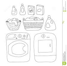 <b>Laundry</b> Elements Set, Washer <b>And</b> Dryer. Detergents, Basket Of ...