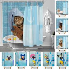 Funny Bathing Cats & Dogs Polyester <b>Waterproof Bathroom Shower</b> ...