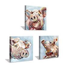 Pig Canvas Wall Art Print: Piggy Pudding Artwork Art ... - Amazon.com
