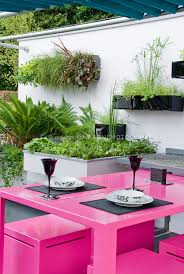 modern upscale patio and pink garden outdoor furniture of table and bench chairs with white black and white outdoor furniture