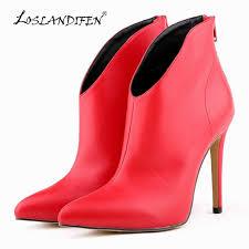 <b>LOSLANDIFEN</b> Flock Zipper Women Boots Velvet <b>Sexy Pointed</b> Toe ...