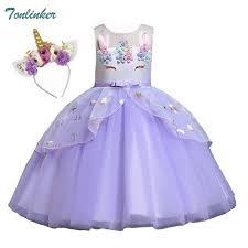 Princess <b>Girls Unicorn</b> Costume Lace Mesh <b>Flowers Unicorn</b> Dress ...