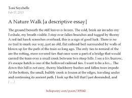 a nature walk a descriptive essay by toni seychelle  hello poetry