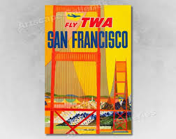 16x24 Visit San Francisco 1950s <b>Vintage Style</b> Airline Travel Poster ...