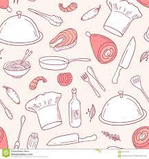 pattern kitchen elements stock outline seamless pattern with food elements in vector hand drawn illus