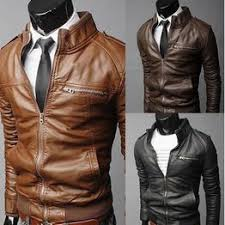 Men's Pure Color Stand Collar Motorcycle Leather Jacket - Vova