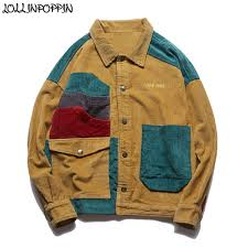 Hip Hop <b>Streetwear Men Patchwork</b> Color <b>100</b>% <b>Cotton</b> Corduroy ...