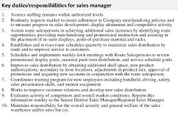 Key duties responsibilities for sales manager