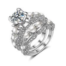 <b>2019 Seanlov</b> Luxury Imitation Pearl Wedding Engagement Rings ...