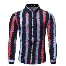 Men's <b>Autumn Long Sleeve</b> Print Stripe Large Size <b>Shirt</b> | Gearbest