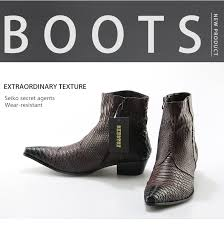 crocodile grain brown white mens ankle boots embossed genuine leather dress spring high flat new wedding shoes