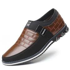 Men Genuine <b>Leather</b> Stitching Slip On Metal Decoration <b>Non Slip</b> ...