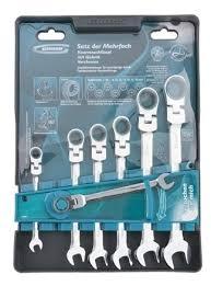 набор гаечных комбинированных ключей с трещоткой 7 шт gross 14891 комбинированные ключи