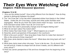 com their eyes were watching god these are the discussion questions for the final two charts of the novel full disclosure these ones are not original
