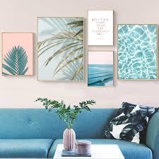 Watercolor Palm Leafs <b>Blue Sea</b> Landscape Wall Art Canvas ...
