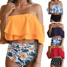 <b>2019 bikini</b> swimwear women ruffled retro <b>tube top</b> hem suit ...