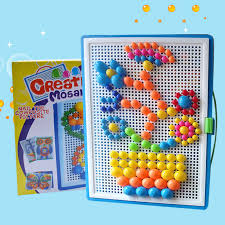 296/592pcs mushroom nail <b>puzzle toy</b> DIY set children spell insert ...
