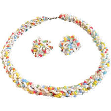 Vintage Coro <b>Seed Bead</b> Loopy Braided <b>Necklace</b> and Earring Set ...