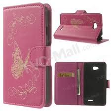 Laser Carving <b>Butterfly Wallet Leather</b> Stand <b>Case Cover</b> for LG L70 ...