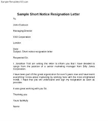 example of no notice resignation letter   sample templatesresignation letter without notice period  middot  sample short notice resignation letter