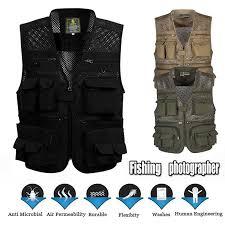 <b>Outdoor</b> Waterproof Fishing Vest Hiking Hunting <b>Multi</b> Pocket Vest ...