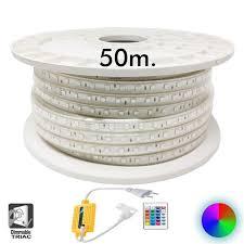 Coil 50m. <b>led</b> strip 13w dimmable <b>220v</b> ac smd <b>5050</b> 60 <b>led</b>/m rgb ...