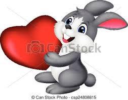 Vector illustration of <b>cute little bunny cartoon</b> holds red hart.
