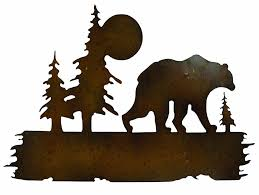 tree scene metal wall art: bear trees woods scene metal wall hung art home kitchen indoor outdoor decor ebay