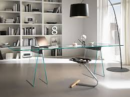 modern minimalist design of the glass top desk that appplied glasses materials that combined with green iron materials make it sems nice with arch floor interior cool office desks