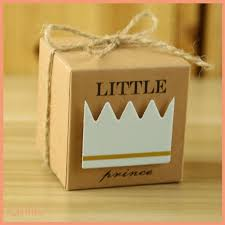 <b>50pcs</b> Baby Shower Candy Box <b>Little Prince</b>/<b>Princess</b> Crown Kraft ...