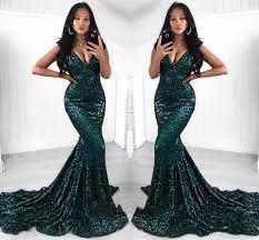<b>Dark Green</b> Reflective Prom Dresses <b>2019 Sexy</b> Mermaid V Neck ...