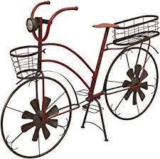 37 Inch Solar Lighted Metal <b>Bicycle Planter Stand</b> - Indoor / Outdoor ...