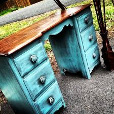 refinished desk by cj walk refinished and customized wooden desk painted teal and stained chic mint teal office