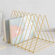 <b>Metal</b> Triangle <b>Iron Art Desktop Bookshelf</b> Letter Magazine Storage ...