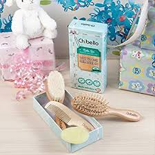 Chibello 4 Piece Wooden <b>Baby</b> Hair <b>Brush and Comb</b> Set Natural ...