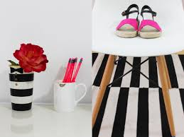 i absolutely love this black and white home office the modern white chair and striped black and white home office