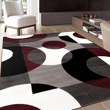 Modern Area Rugs For Living Room Living Room 07 Black White Red Gray Light Gray Contemporary Wool