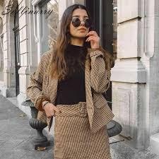 Sollinarry Classic <b>Plaid Chic</b> Autumn Blazer Jacket <b>Women</b> ...