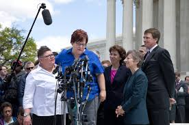 gay marriage arguments divide supreme court justices   the new    jayne rowse  left  and april deboer  second from left  who challenged michigan    s ban on same sex marriage  appeared outside the supreme court on tuesday